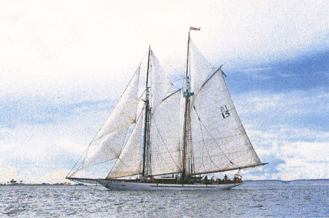 Photograph of the gaff-rigged chhooler Adventuress.
